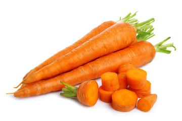 Fresh carrots vegatables isolated on white