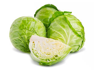 Fresh green cabbage vegetables isolated on white