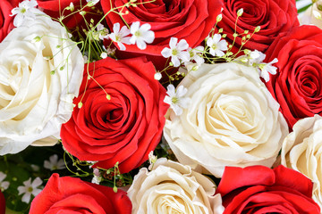 Red And White Roses Wedding Flowers Bouquet