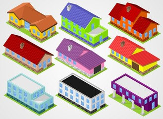 Nine isometric houses