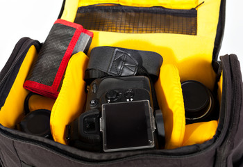 black with yellow camera bag to open the camera lens on