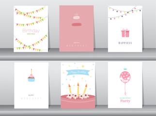 Collection  of  greeting and invitation card,birthday, holiday, christmas,cake,cupcake,balloon,gift,cartoon, vector illustration