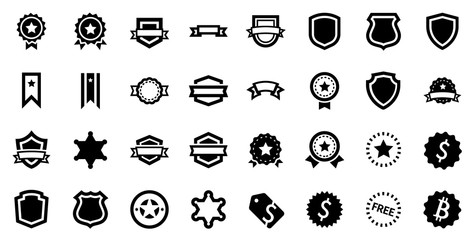 Award Reward Prize Badge Glyph Vector Icon Set