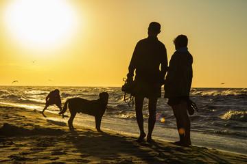 Fototapeta szczęśliwa rodzina z dzieckiem i psem obraz