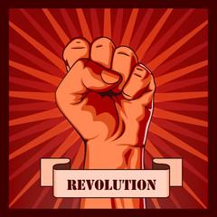 Revolution fist creative poster concept.