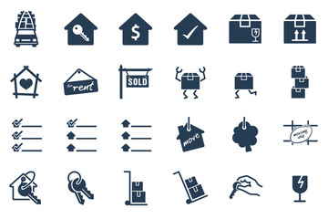 Home Moving Glyph Vector Icon Set
