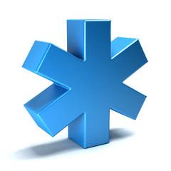Medical symbol of the Emergency - Star of Life. 3D rendering illustration