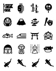 The Attractions of Japan Vector Icon Set