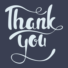 Thank you lettering. Hand written Thank you poster. Modern hand