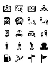 Map Direction Location GPS icon set