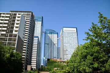 High-rise buildings of Harumi and river(Japan)