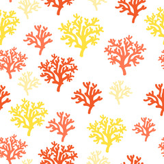 Seamless pattern of red, orang, yellow corals on a white backgro