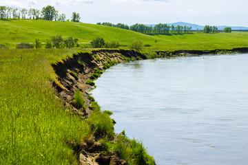 Маленькая река в зеленых полях Алтая