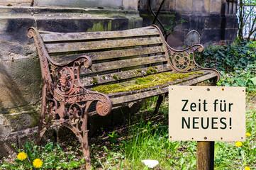 Antike Bank Zeit für Neues Schild