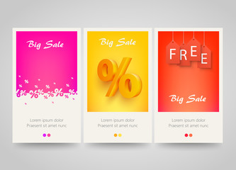 Modern colorful vertical banners with price labels and percent signs.