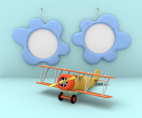 Two photo frames and old airplane on a blue background. 3d rende