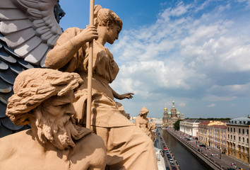 View of the Church of the Savior of Blood on the roof where there are beautiful sculptures in St. Petersburg.