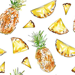 Seamless pattern with fruit.Pineapple and pineapple slices.Food picture.Watercolor hand drawn illustration.White background.