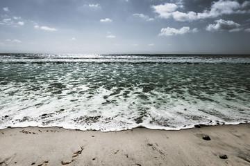 At the beach in San Diego. Coast of California. Bleach Bypass effect