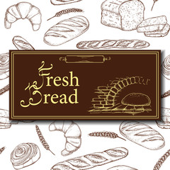 Vector design for bakery or baking shop with hand drawn bread illustration. Vintage bakery sketch background. Seamless pattern