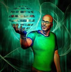 Man holding sphere of videos