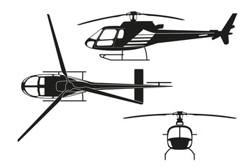 Black silhouette of helicopter on white background. Top view, si