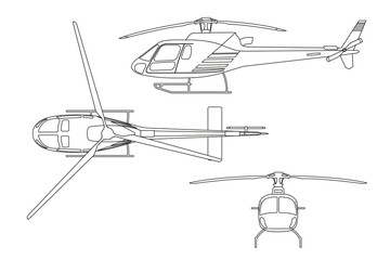 Outline drawing of helicopter on white background. Top view, sid