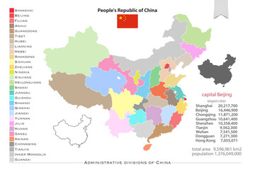 People's Republic of China isolated maps and official flag icon. vector Chinese political map icons with general information. Asian country geographic banner template administrative divisions of China