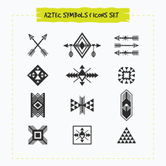 Black silhouette Aztec and tribal signs and symbols icons set on white background