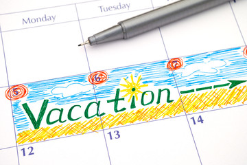 Reminder Vacation in calendar with pen