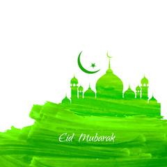 Deurstickers Green color Eid mubarak background