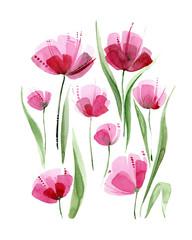 Decorative poppy flowers. Watercolor illustration.