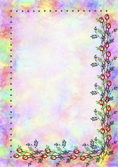 Hand drawn textured floral background.Crumpled paper with rose and leaves.Template for letter or greeting card.A4 size format.Series of Watercolor,Oil,Pastel,Chalk, Backgrounds and Cards,Blanks,Forms.