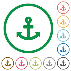 Anchor outlined flat icons