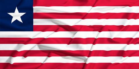 waving flag of Liberia on a silk drape