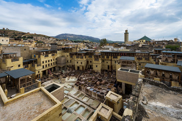 View of a tannery in the city of Fez, in Morocco