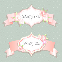 vector shabby chic illustration. provence style. pink background. congratulations or invitation card. template. album cover.floral frame