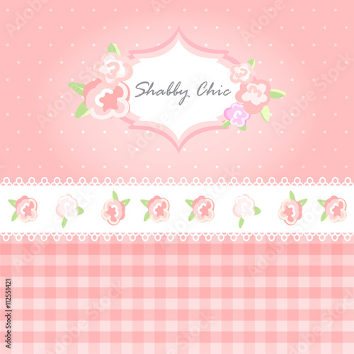 Vector Shabby Chic Illustration Provence Style Pink Background Congratulations Or Invitation Card