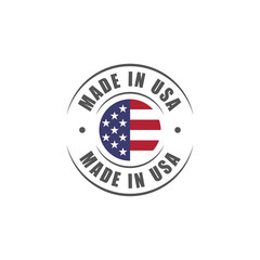 "Round ""Made in USA"" label with USA flag"