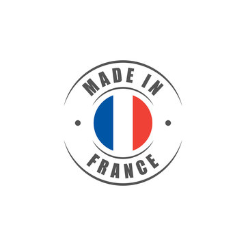 """Round """"Made in France"""" label with French flag"""