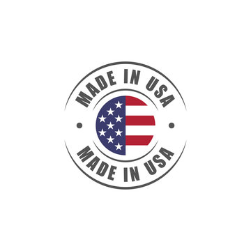 """Round """"Made in USA"""" label with USA flag"""