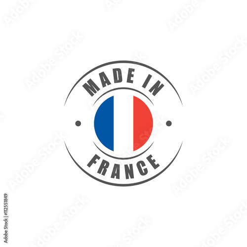 Round made in france label with french flag stockfotos for Bouilloire made in france