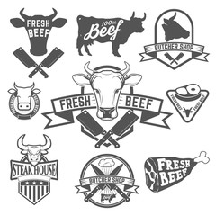 Fresh beef labels. Butchery store labels. Cow heads icons and bu