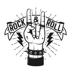 Rock and roll sign. Human hand with heavy metal sign. Rock and r