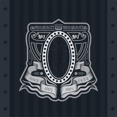 Oval Frame On With Winding Ribbons And Line Pattern. Vintage Label With Coat of Arms On Blackboard