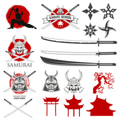 Set of karate school labels, emblems and design elements. Katana