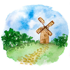 watercolor illustration of a village landscape