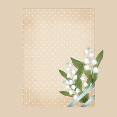 Bunch of lilies of the valley on beige invitation card, frame