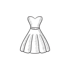 Dress sketch icon.
