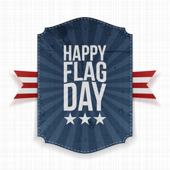 Happy Flag Day patriotic Label with Ribbon